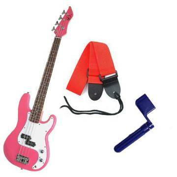 It's All About the Bass Pack - Pink Kay Electric Bass Guitar Medium Scale w/Blue String Winder & Red Strap