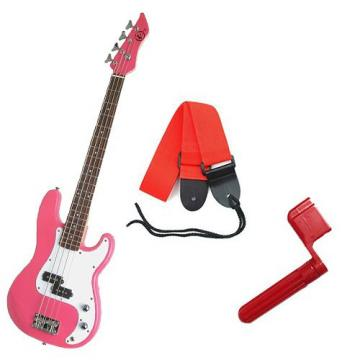 It's All About the Bass Pack - Pink Kay Electric Bass Guitar Medium Scale w/Red String Winder & Red Strap