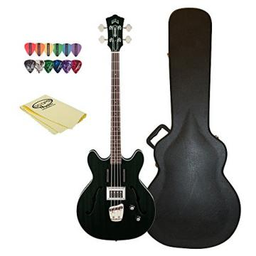 Guild Starfire Bass Guitar with Case, 12 Pick Sampler, & GoDpsMusic Polish Cloth, Black