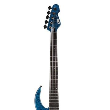 ESP LBB1005QMBLKAQ-KIT-1 Bunny Brunel Signature Series BB-1005 QM 5-String Electric Bass, Black Aqua
