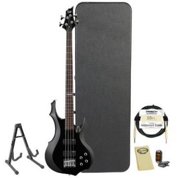 ESP LTD F-104-BLK Black 4-String Electric Bass w/ Accessories & Hard Case