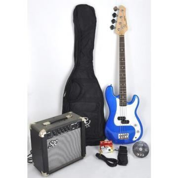Ursa 1 JR RN PK EB Blue Bass Guitar Package w/Free Carry Bag, Amp and DVD