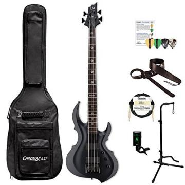 ESP LTA604FRXBLKS-KIT-1 Tom Araya Signature Series 604FRX Electric Bass, Black Satin