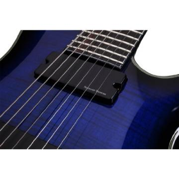 Schecter Blackjack Slim Line Series C-7 7-String Electric Guitar, See-Thru Blue Burst, with Active Pickups