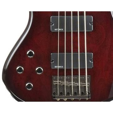 Schecter Stiletto Extreme-5 Bass Guitar (5 String, Left Handed, Black Cherry)