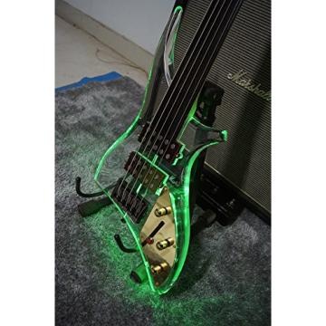 Starshine 5 strings fretless electric bass guitar acrylic body led light colorful ebony fingerboard (Colorful led)