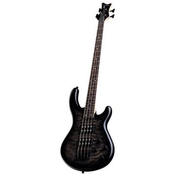 Dean E2 BM TBB Edge 2 Burled Maple Bass Guitar, Trans Blackburst