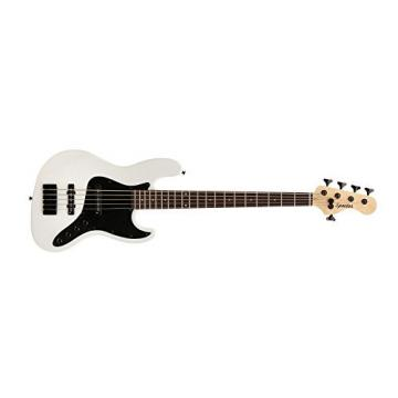 Spector CODA5PROWH CodaBass5 Pro White Gloss Bass Guitar with Black Pickguard, Rosewood Fingerboard