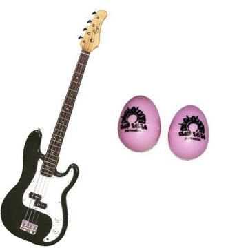 It's All About the Bass Pack-Black Kay Electric Bass Guitar Medium Scale w/Pink Egg Shakers