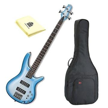 Ibanez SR300ESMB 4-String Bass Guitar in Seashore Metallic Burst Finish with Kaces KQA-120 GigPak Acoustic Guitar Bag and Custom Designed Instrument Cloth