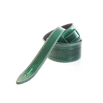 "LeatherGraft Emerald Green Genuine Leather Celtic Knot Texas Swirl Pattern Design 2"" Wide Guitar Strap"