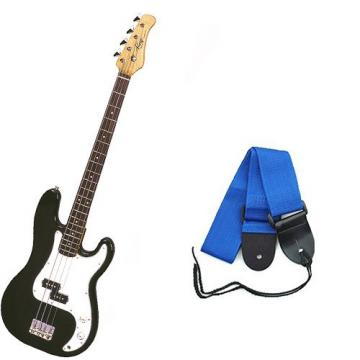 It's All About the Bass Pack - Black Kay Electric Bass Guitar Medium Scale w/Blue Strap