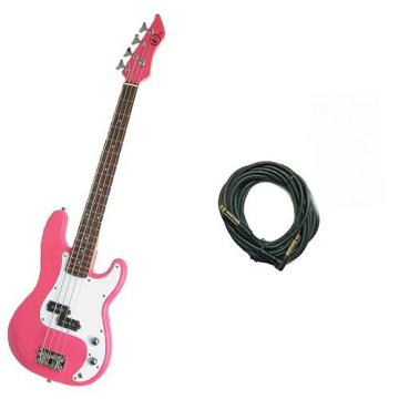 It's All About the Bass Pack - Pink Kay Electric Bass Guitar Medium Scale w/20ft Cable