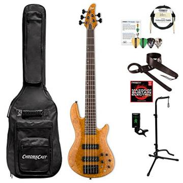 ESP LH1005SEBMHN-KIT-1 H Series H-1005SE 5-String Solid Burled Maple Top Electric Bass, Honey Natural