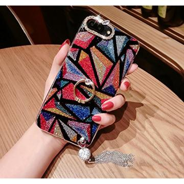 Diamond iPhone 6 Plus Case, iPhone 6S Plus Cover, Bonice Bling Glitter Luxury Rhinestone Soft Rubber Bumper Full Body Case with 360 Ring Stand Holder with Tassel for iPhone 6 Plus/6S Plus - Rhombus 02