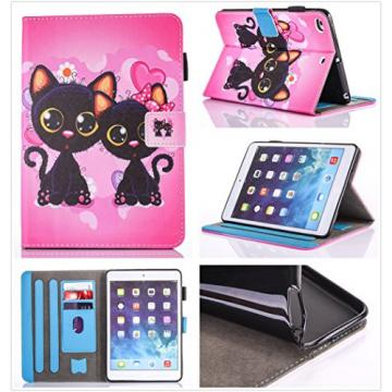 Wallet Case for iPad 6, Bonice Premium Colorful Painted Pattern Leather Stand Folio Wallet Case Magnetic Snap with Card Slots Shockproof Protective Cover for iPad Air 2 2th Generation - Two Cats