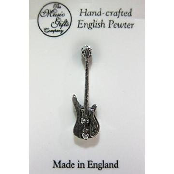 Handcrafted Pewter Pin - Bass Guitar