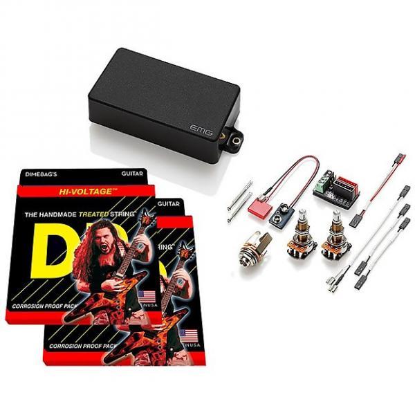 Custom EMG 60 Active Humbucker, Black, LONG SHAFT Pots, 2 sets DR Strings Dimebag 9-46