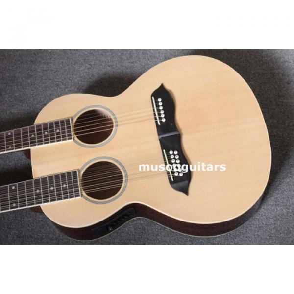Custom Shop Natural Finish Double Neck Acoustic Electric Guitar