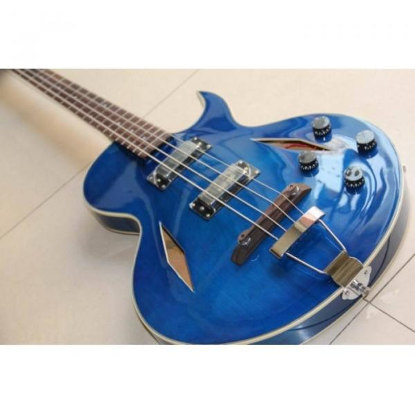 Custom Shop Cream Blue Midtown 4 String Fhole Semi Hollow Bass