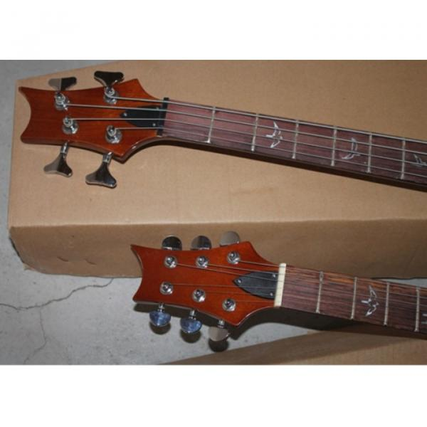Custom PRS Double Neck 6 String Guitar Tricolor Passive Pickups 4 String Bass Left Handed