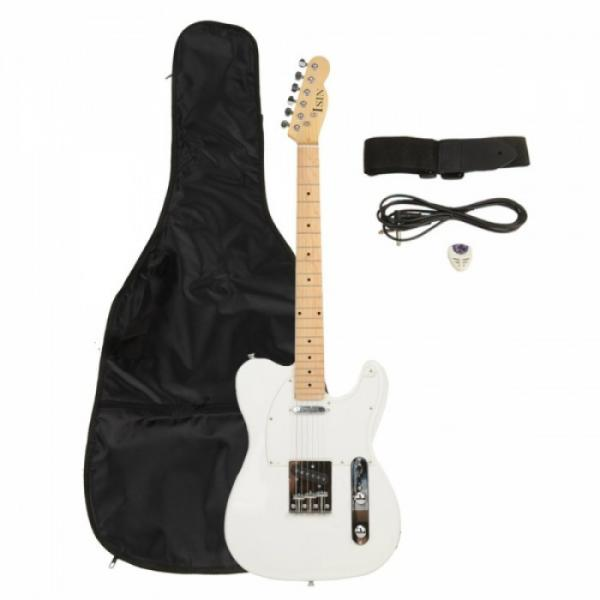 Professional Electric Guitar White with Amplifier Bag Strap Tool Pick
