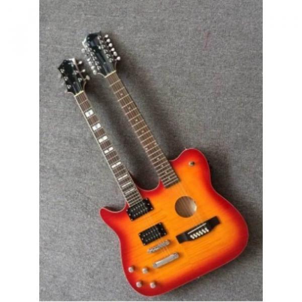 Custom Telecaster 6 String 12 String Electric Guitar Double Neck Sunburst Left Handed
