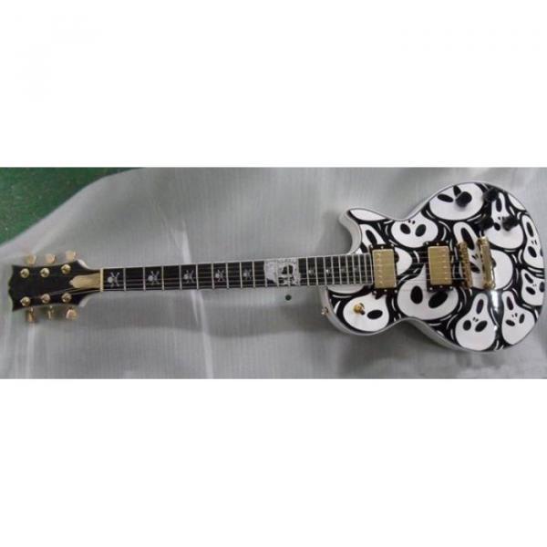 Custom Shop Skull Print Black LP Electric Guitar