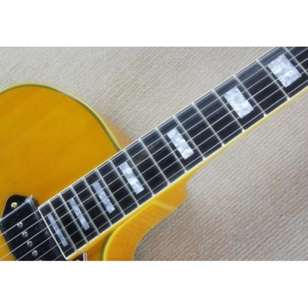 Custom Shop P90 L5 Transparent Yellow Paint Electric Guitar Spring vibrato