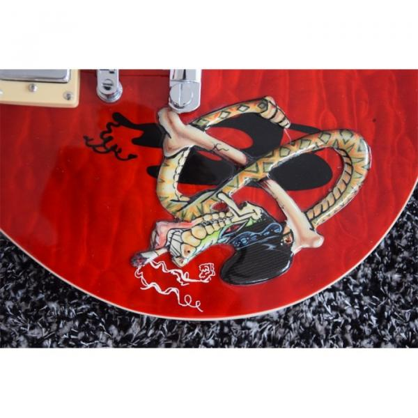 Custom Quilted Red Abalone Snakepit Slash Inlay Fretboard Electric Guitar