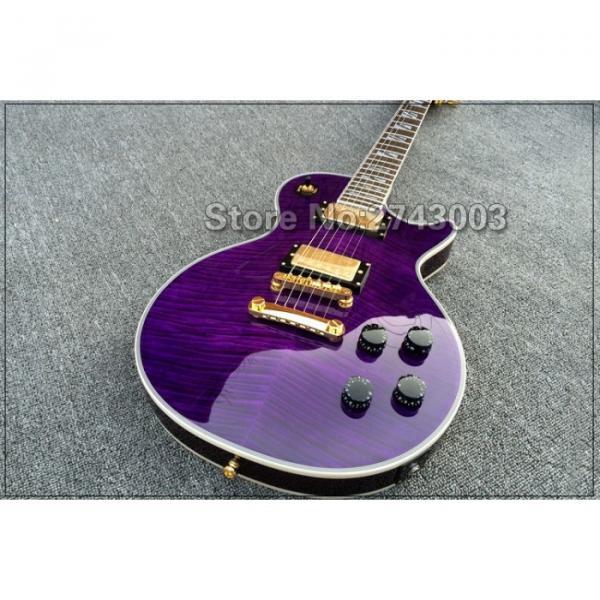 Custom LP Supreme Dark Purple Tiger Maple Top Electric Guitar
