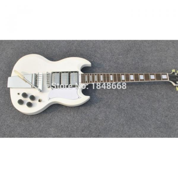 Custom 3 Pickups SG Angus Young White Electric Guitar Maestro Vibrola