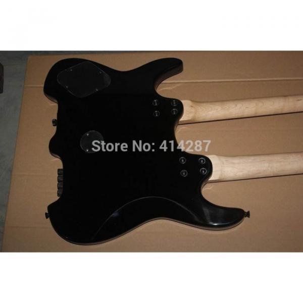 Custom Shop Double Neck Black Steinberger 24 Frets Headless Electric Guitar