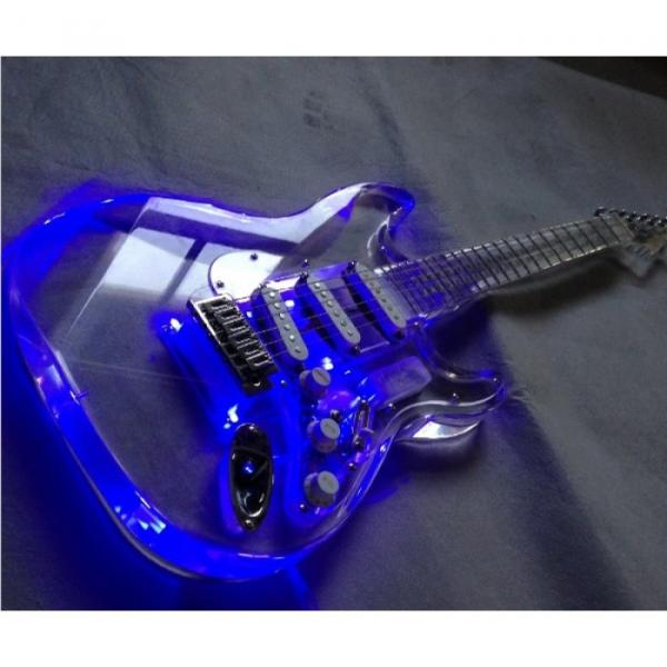Crystal Stratocaster Blue Led Light Plexiglass Body and Neck Acrylic Electric Guitar