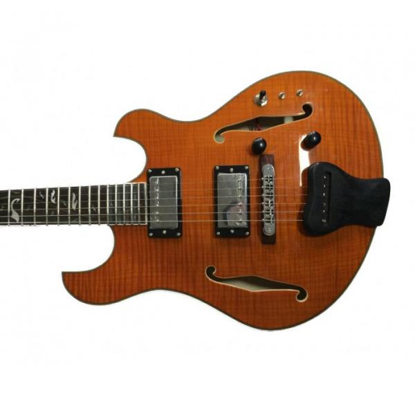 Custom Shop Amber Finish Tiger Maple Top Languedoc Electric Guitar Fhole Deadwood with Bracing Inside