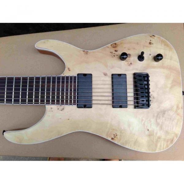 Custom Shop 8 String Natural Wood Burl Pattern Electric Guitar