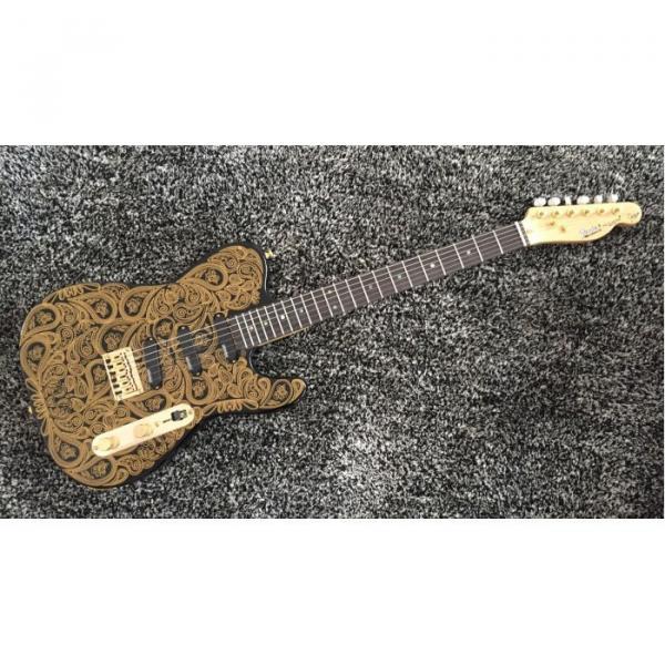 Custom Built Black Gold Paisley Design Telecaster Electric Guitar James Burton