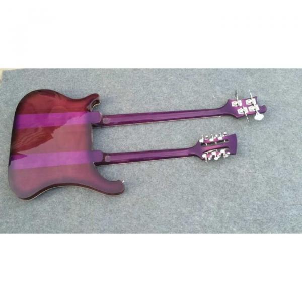 Custom Shop Double Neck Rickenbacker Purpleglo 4003 4 String Bass 12 String Guitar