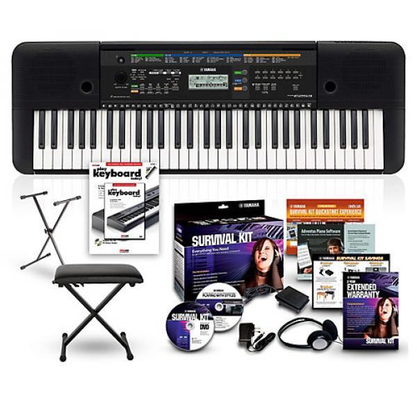 Yamaha PSRE253 61-Key Portable Keyboard Package Black