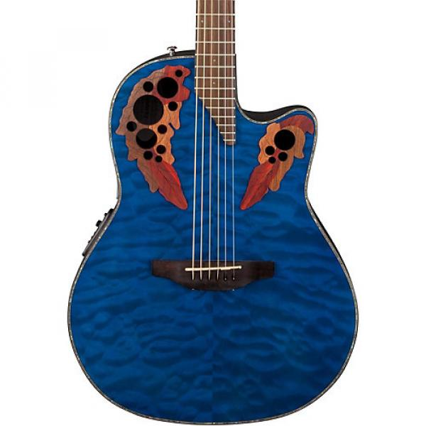 Ovation Celebrity Elite Plus Acoustic-Electric Guitar Quilted Maple Trans Blue