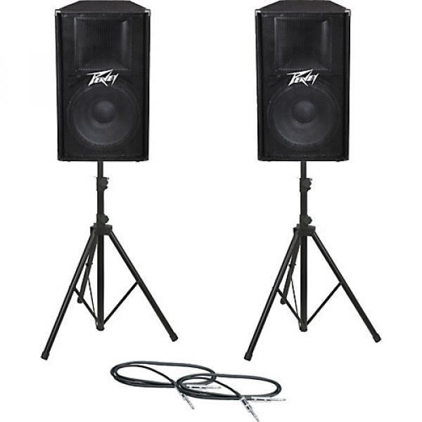 Peavey PV115 Speaker Pair with Stands and Cables
