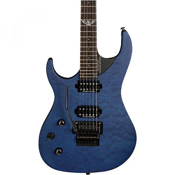 Washburn Parallaxe Series Left-Handed Electric Guitar Quilted Transparent Blue