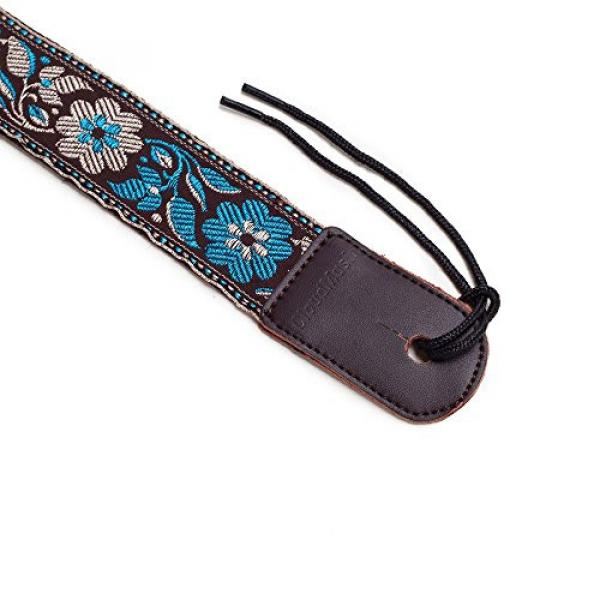CLOUDMUSIC Colorful Hawaiian Style Cotton Ukulele Strap Blue White Flower (Brown)