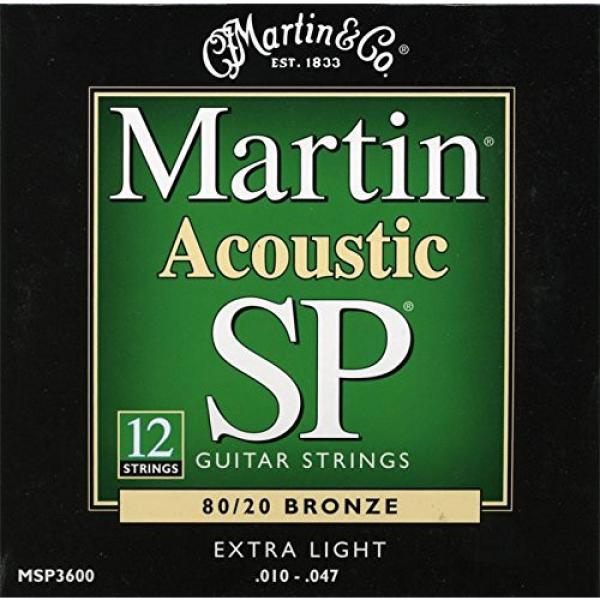 Martin MSP3600 SP 80/20 Bronze 12-String Acoustic Guitar Strings, Extra Light
