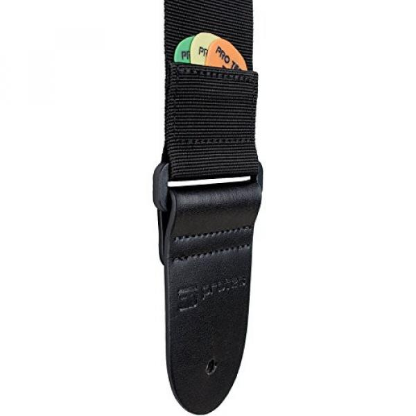 Protec Guitar Strap with Leather Ends and Pick Pocket, Black
