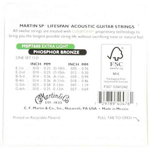 Martin MSP7600 SP Lifespan 92/8 Phosphor Bronze Acoustic String, Extra Light, 12-String