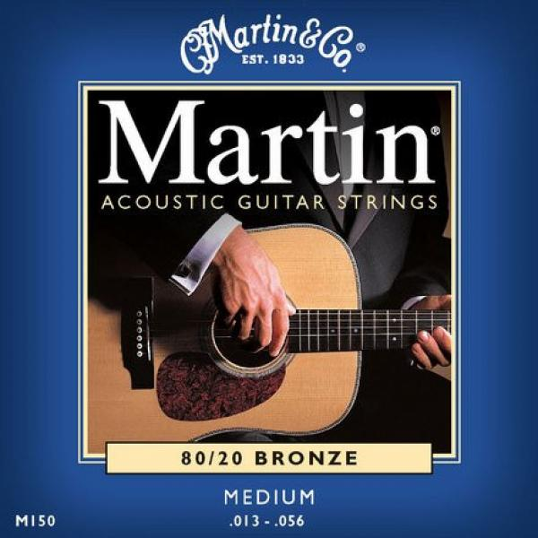 Martin M150 Traditional 80/20 Bronze Acoustic Guitar Strings, Medium, 13-56 (2 Pack)
