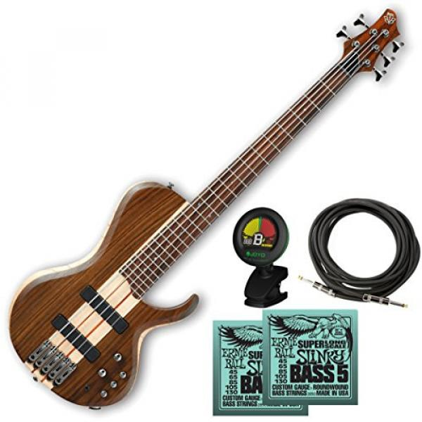 Ibanez BTB685SC Terra Firma with Bartolini Pickups 5-String Electric Bass Guitar Natural w/ Cable, Tuner, and 2 Sets of Strings