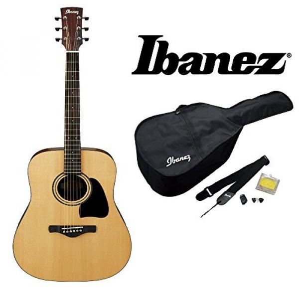 Ibanez IJD100S Jampack Dreadnought Solid Top Acoustic Guitar Package, Includes Gig Bag, Chromatic Clip-On Tuner, Guitar Strap