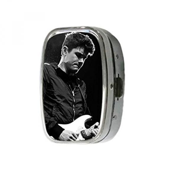 Turekk Custom John Mayer Playing Martin Guitar Personality Style Sliver Stainless Steel Square Pill Box Pill Case Vitamins Organizer